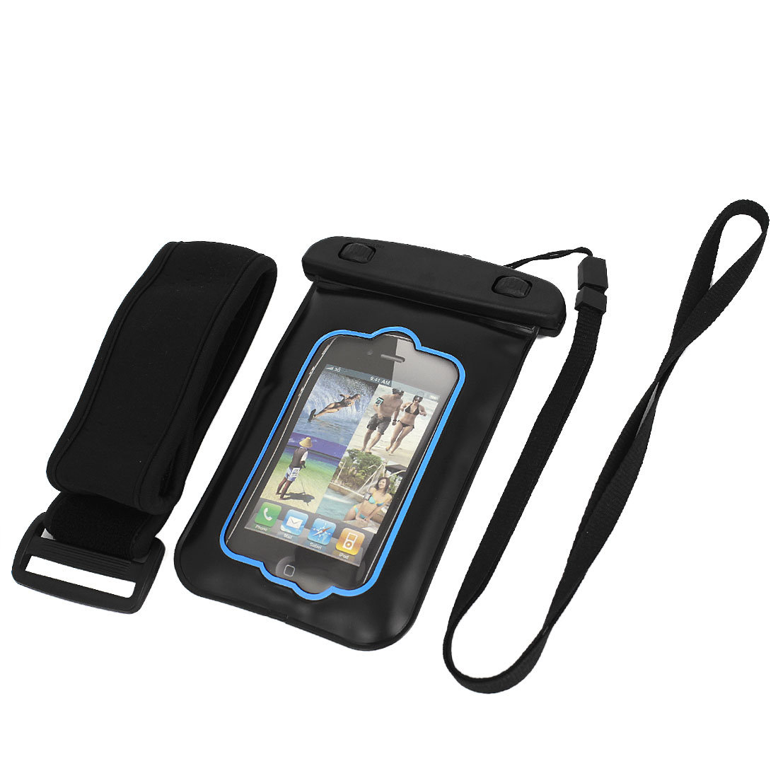 "Waterproof Case Shell Dry Bag Pouch + Ear Stopper Black Blue for 3.5"" Mobile Phone"