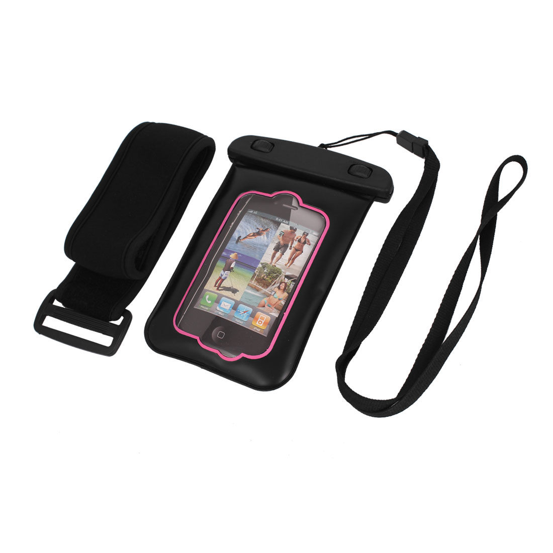 """Waterproof Case Dry Bag Cover Pouch + Ear Stopper Black Pink for 3.5"""" Mobile Phone"""