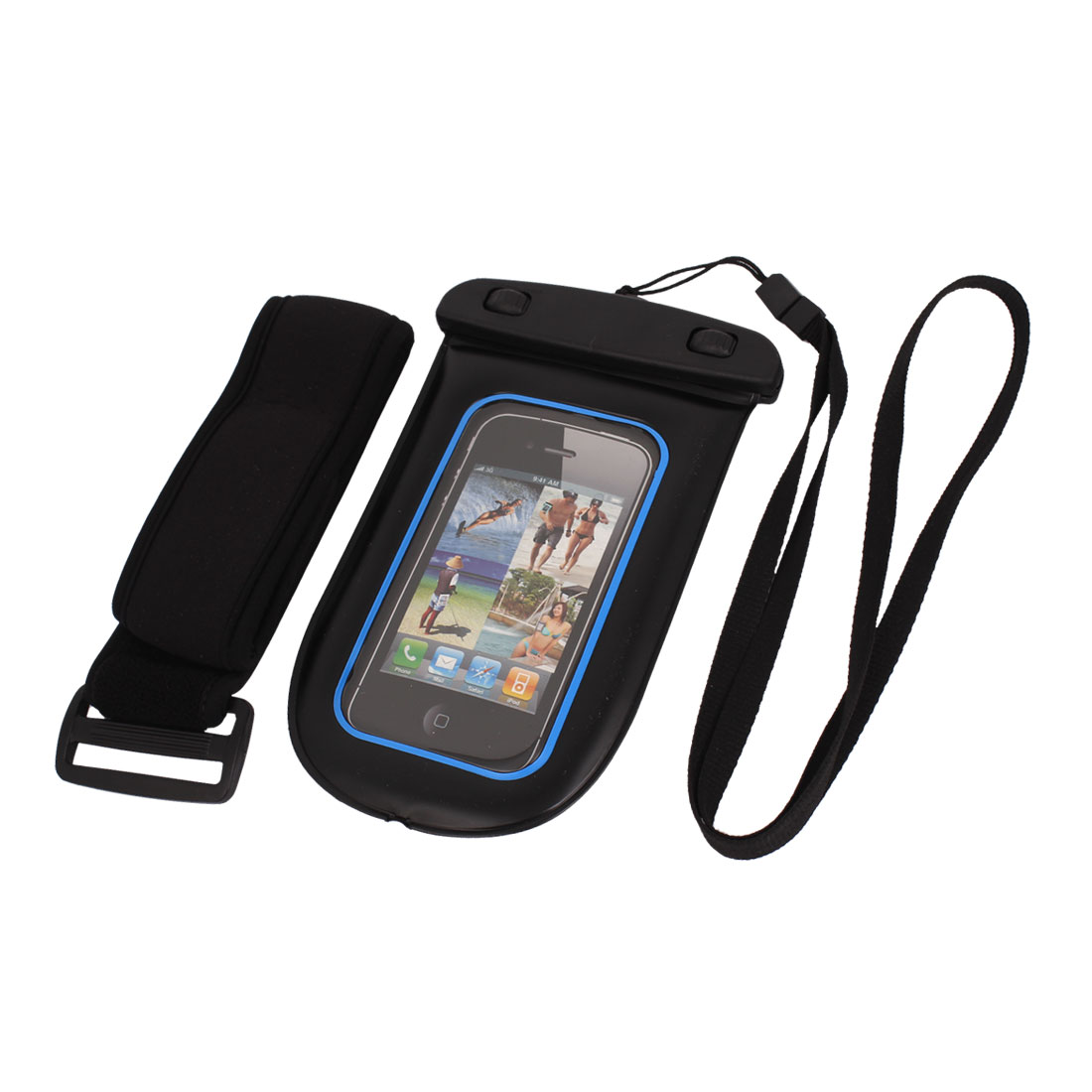 Waterproof Pouch Bag Holder Blue for iPhone6 w Neck Strap Armband