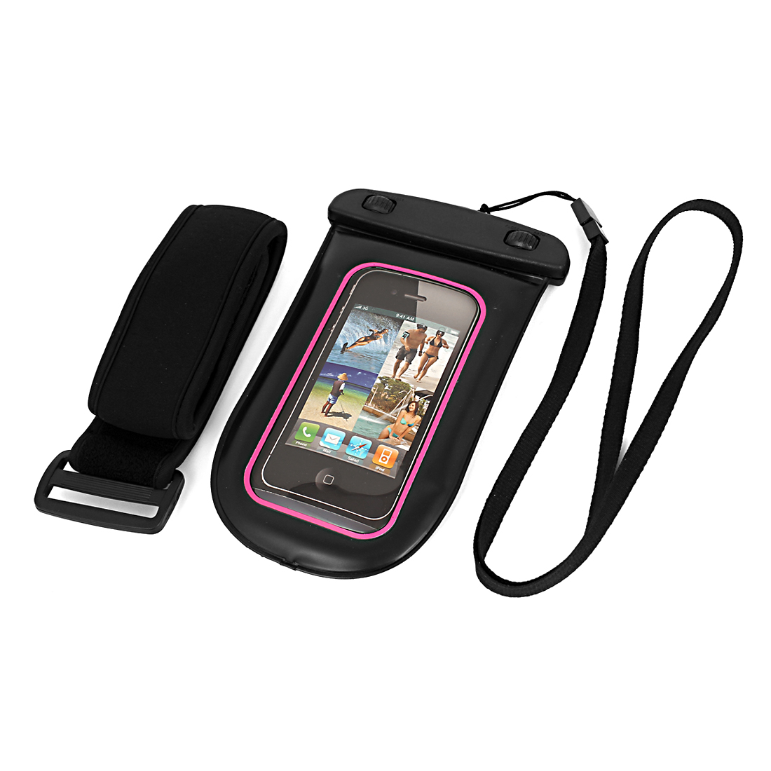 Waterproof Pouch Bag Holder Pink for iPhone6 w Neck Strap Armband