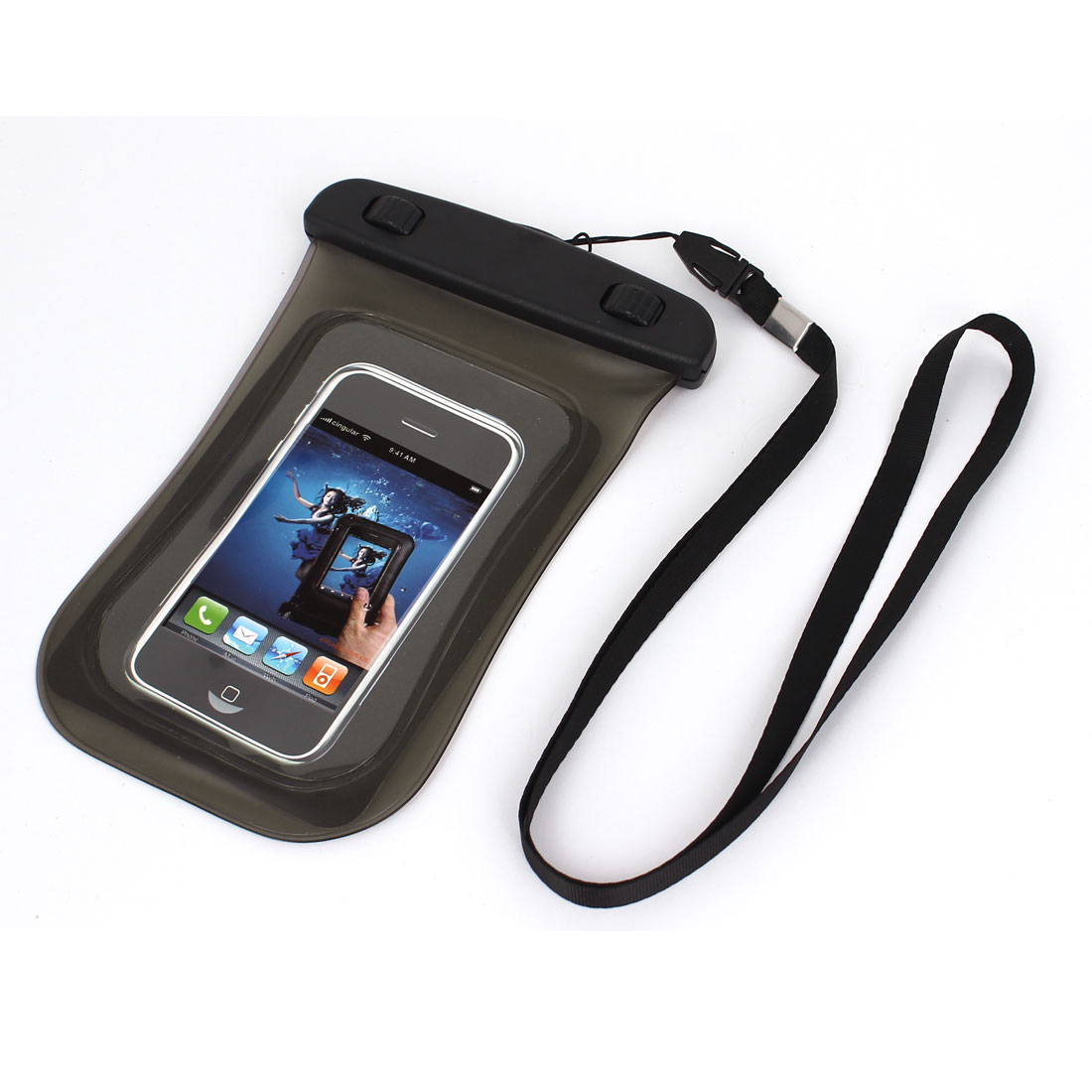 "Universal Waterproof Case Dry Bag Protective Cover Pouch Gray for 4"" Cell Phone"