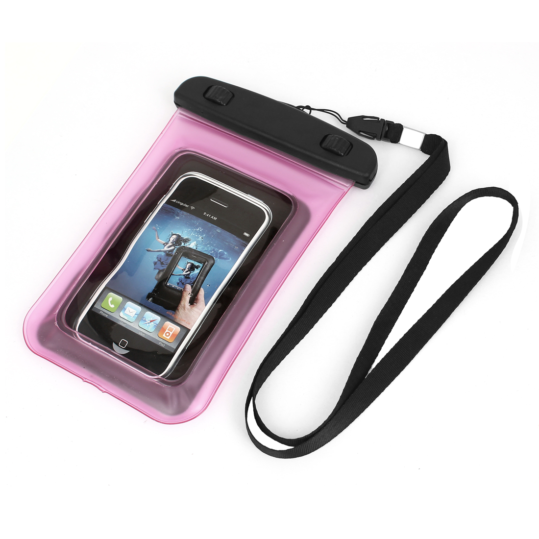 "Transparent Guard Pouch Waterproof Bag Dry Cover Case Pink for 4"" Mobile Phone"