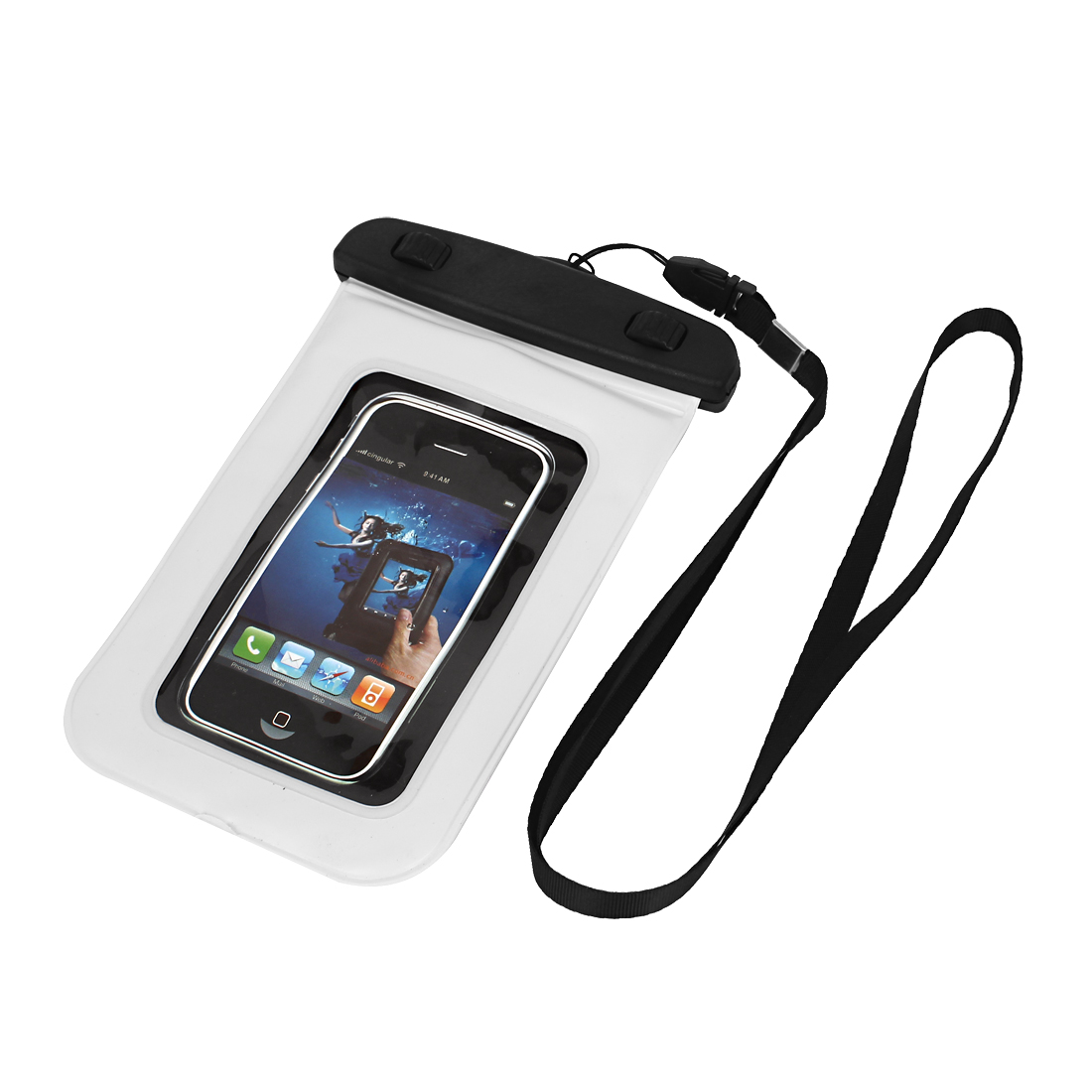 "Transparent Guard Pouch Waterproof Bag Dry Cover Case White for 4"" Mobile Phone"