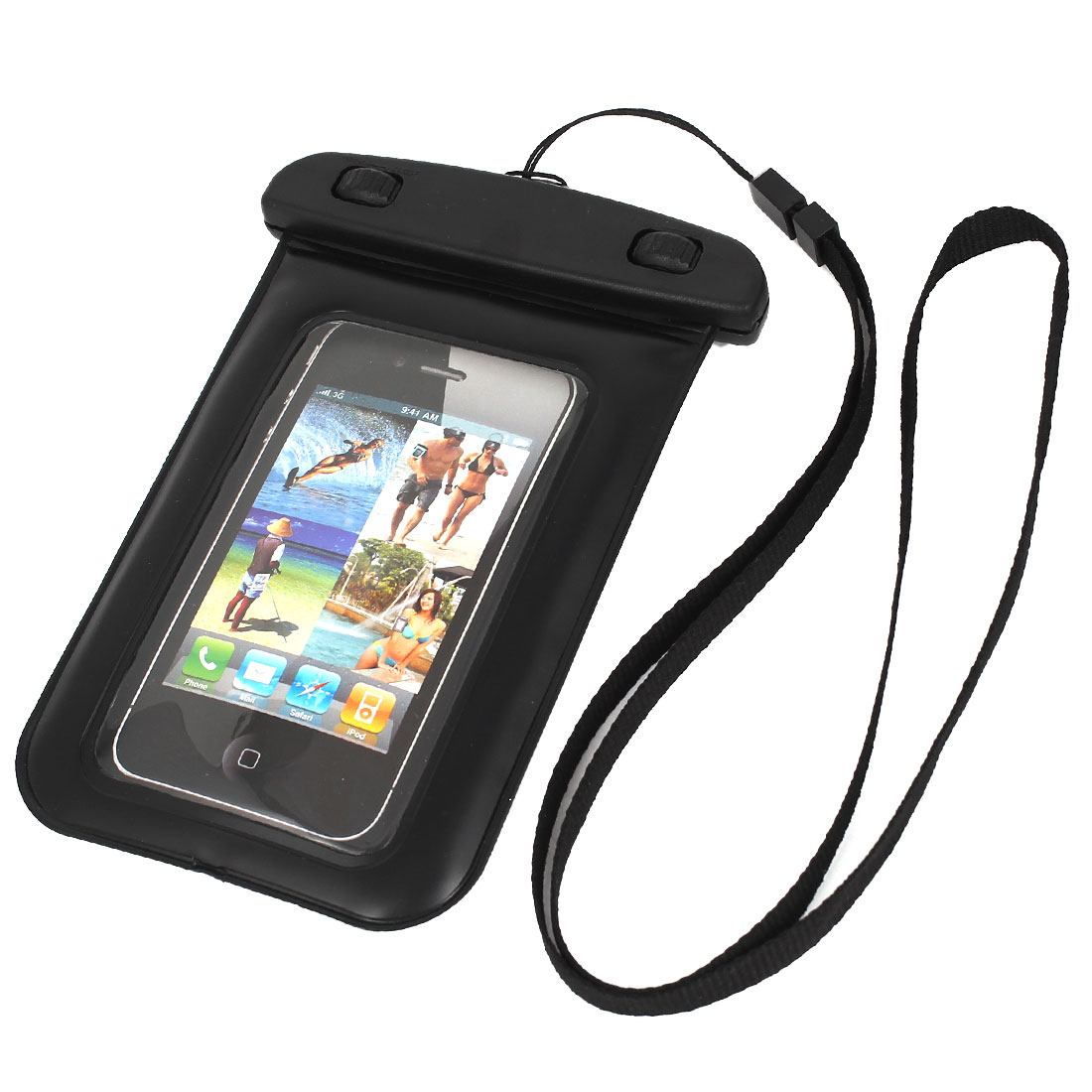 "Underwater Waterproof Case Dry Bag Cover Pouch Black for 4"" Cell Phone"