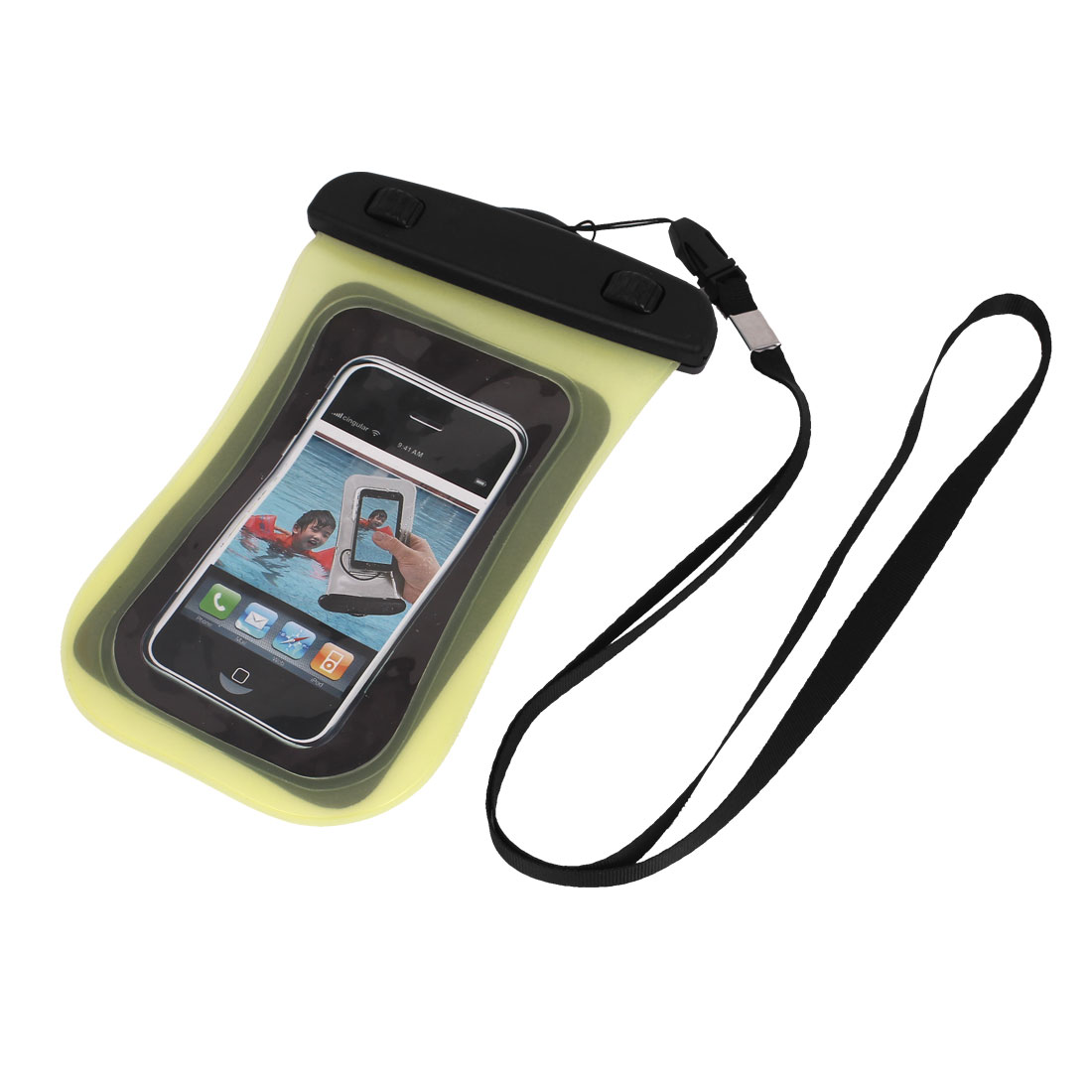 "Waterproof Bag Case Pouch Holder Yellow w Neck Strap for 4"" Cell Phone"