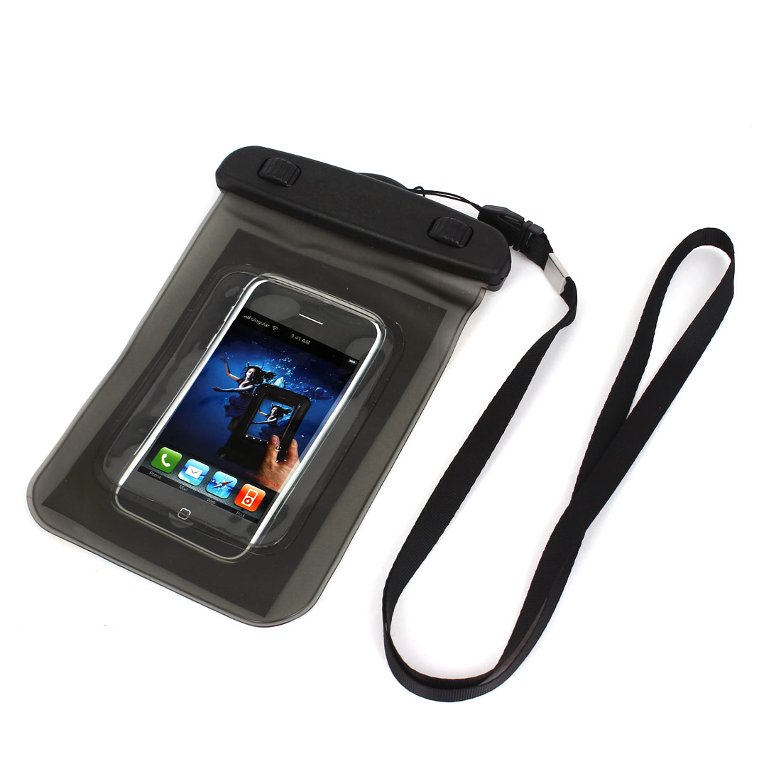 "Waterproof Case Dry Bag Protector Pouch Gray + Strap for 4"" Mobile Phone"