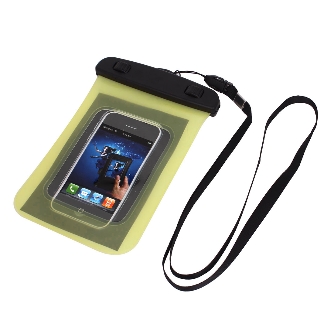 """Waterproof Case Dry Bag Protector Pouch Yellow + Strap for 4"""" Mobile Phone"""