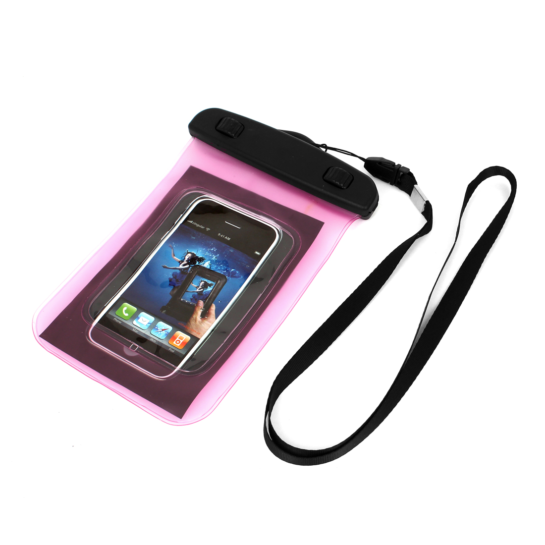 "Waterproof Case Dry Bag Protector Pouch Pink + Strap for 4"" Mobile Phone"