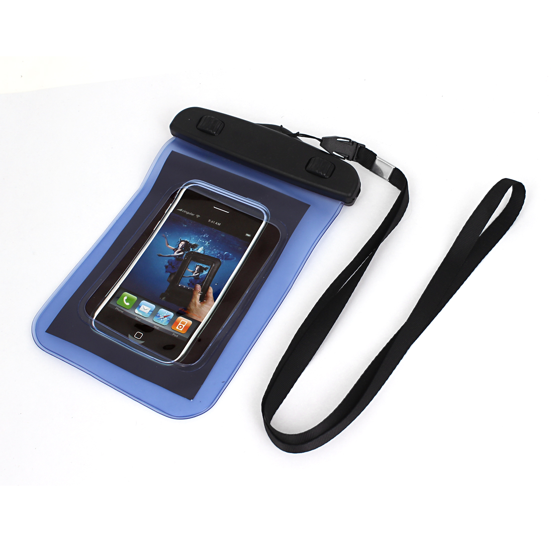 "Waterproof Case Dry Bag Protector Pouch Blue + Strap for 4"" Mobile Phone"