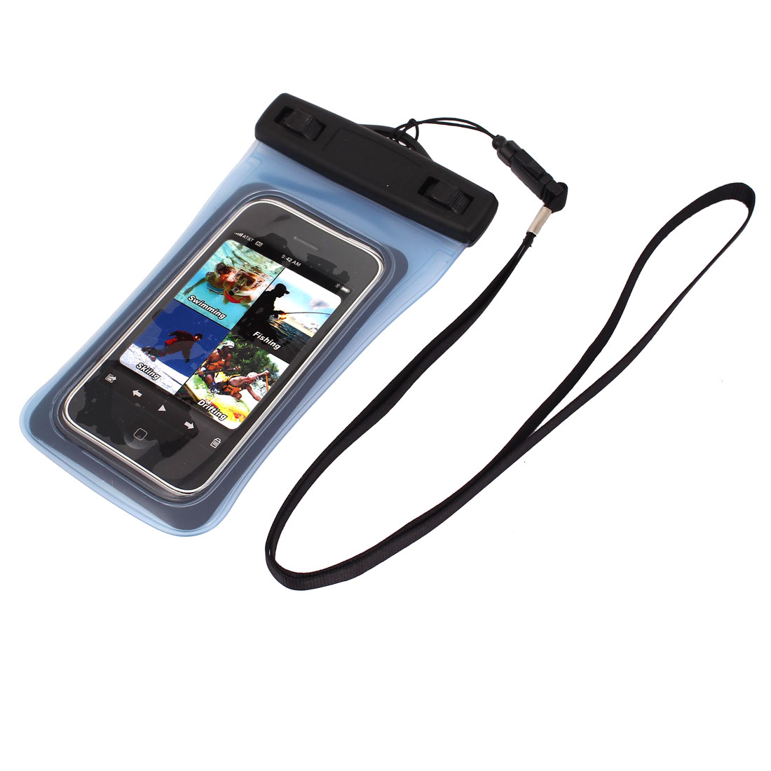 "Waterproof Dry Bag Protector Case Cover Pouch Clear Blue for 4"" Cell Phone"