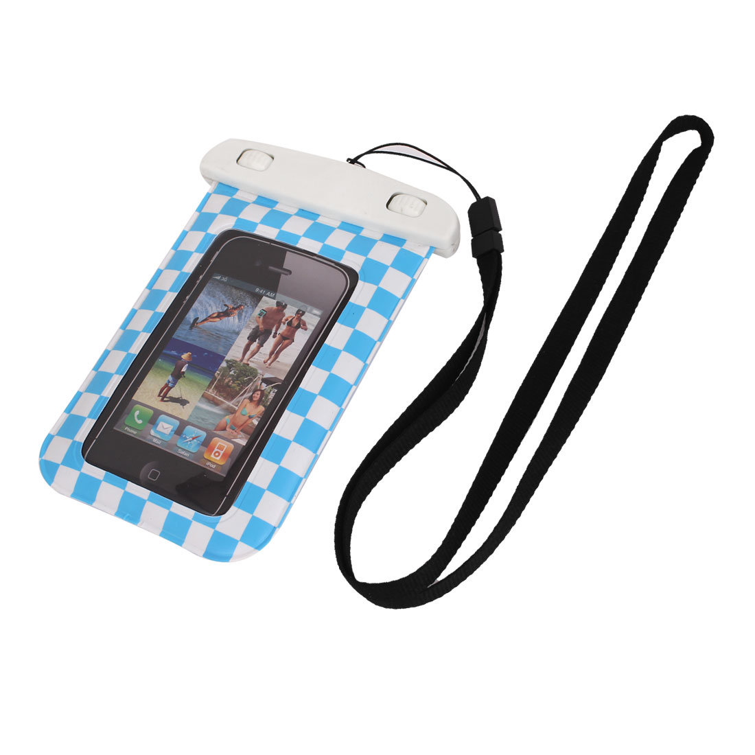 "Grid Pattern Waterproof Case Dry Bag Cover Pouch Holder Blue for 4"" Cell Phone"