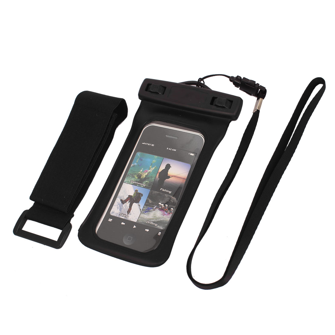 "Underwater Waterproof Case Dry Bag Cover Pouch Black + Strap for 4"" Cell Phone"