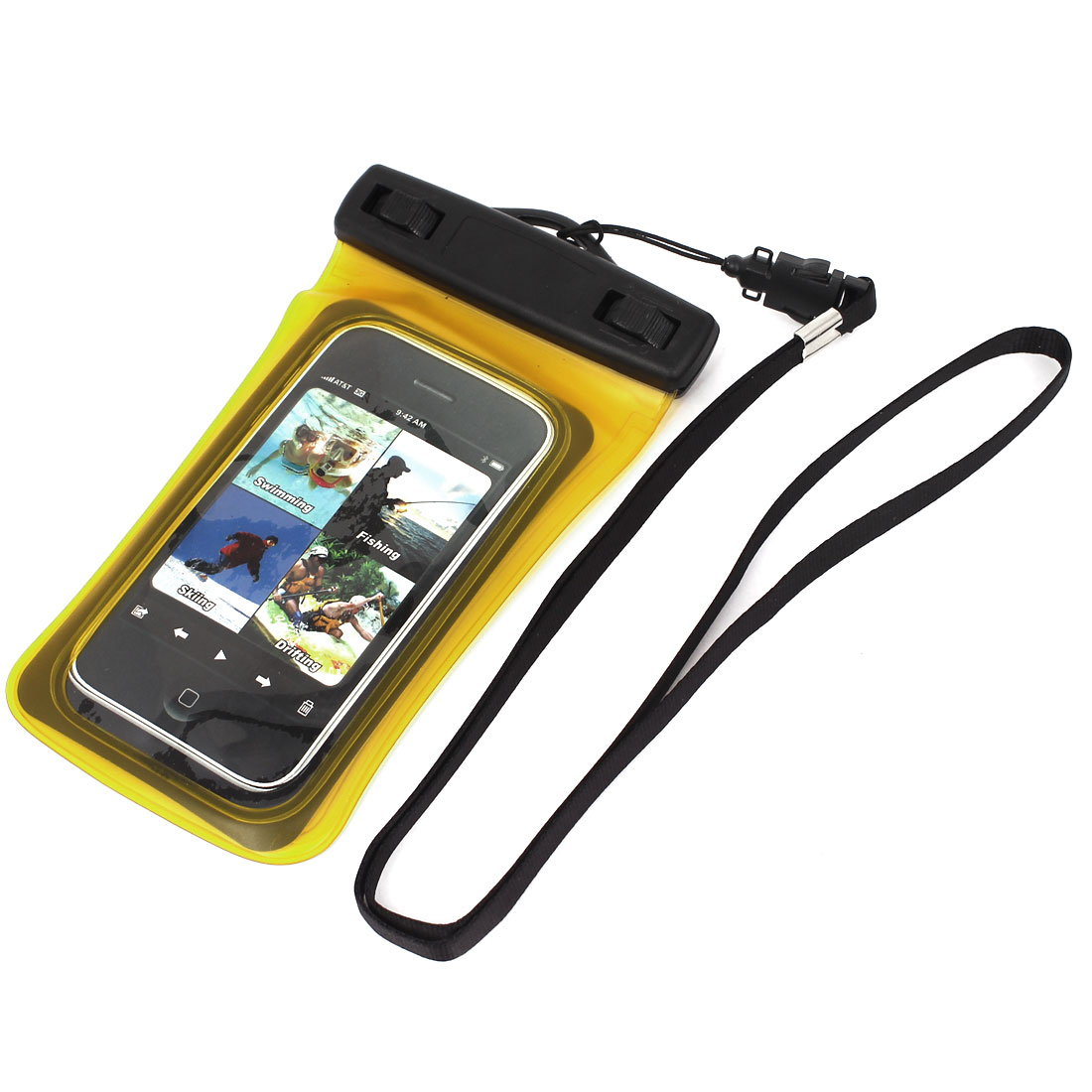"""Waterproof Dry Bag Protector Case Cover Pouch Clear Yellow for 4"""" Cell Phone"""
