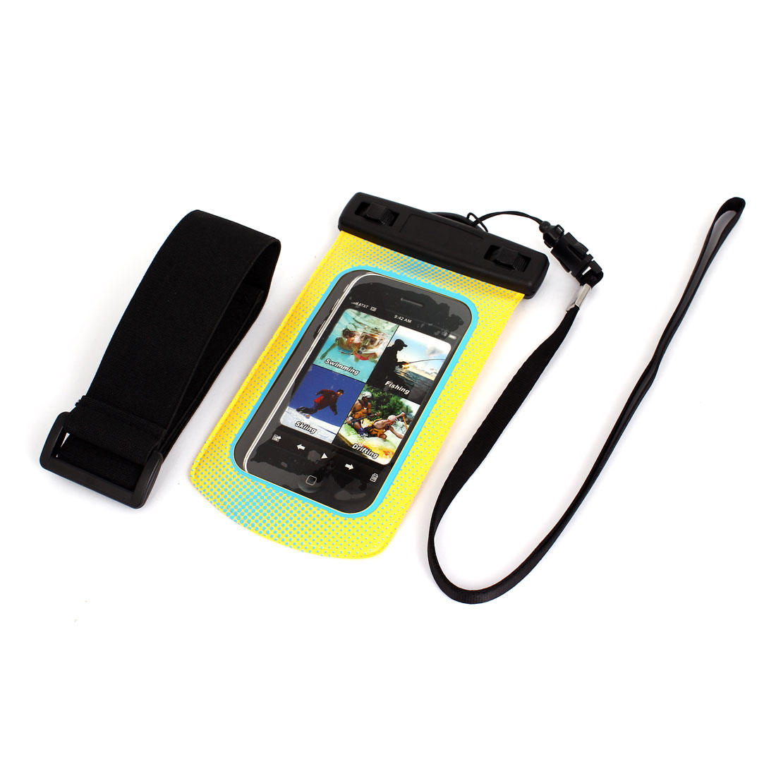 Waterproof Dots Pattern Bag Holder Blue Yellow for iPhone 5G w Neck Strap