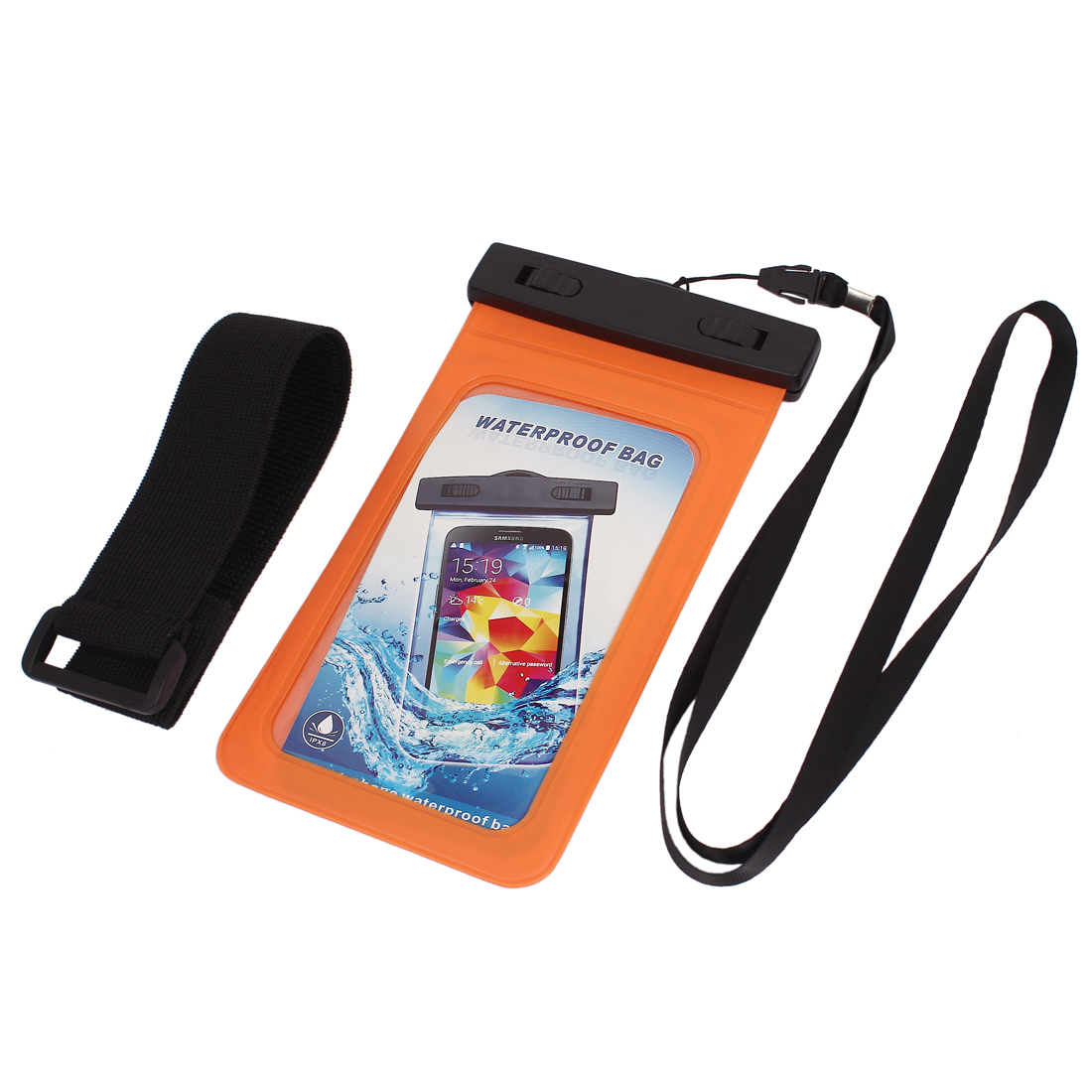 "Waterproof Case Cover Bag Dry Pouch Orange w Armband for 5.5"" Cell Phone"