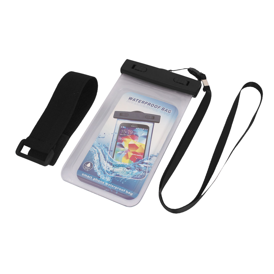 "Waterproof Case Cover Bag Dry Pouch Clear w Armband for 5.5"" Cell Phone"