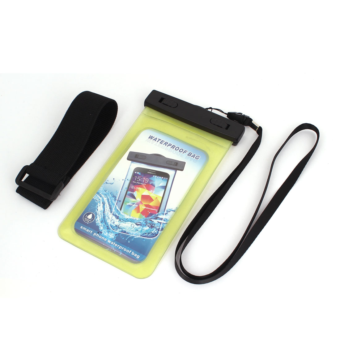 "Waterproof Case Cover Bag Dry Pouch Yellow w Armband for 5.5"" Cell Phone"