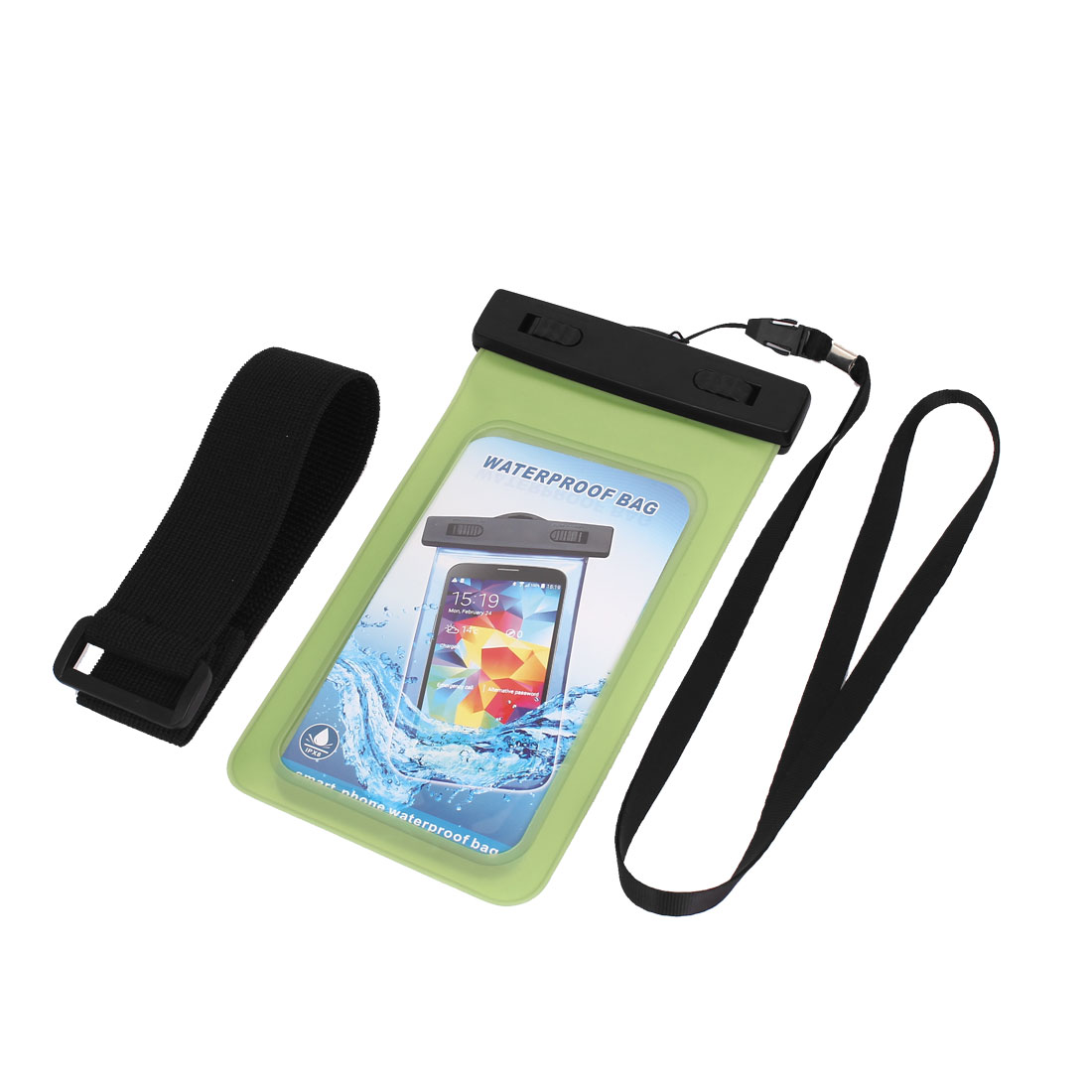"Waterproof Case Cover Bag Dry Pouch Green w Armband for 5.5"" Mobile Phone"