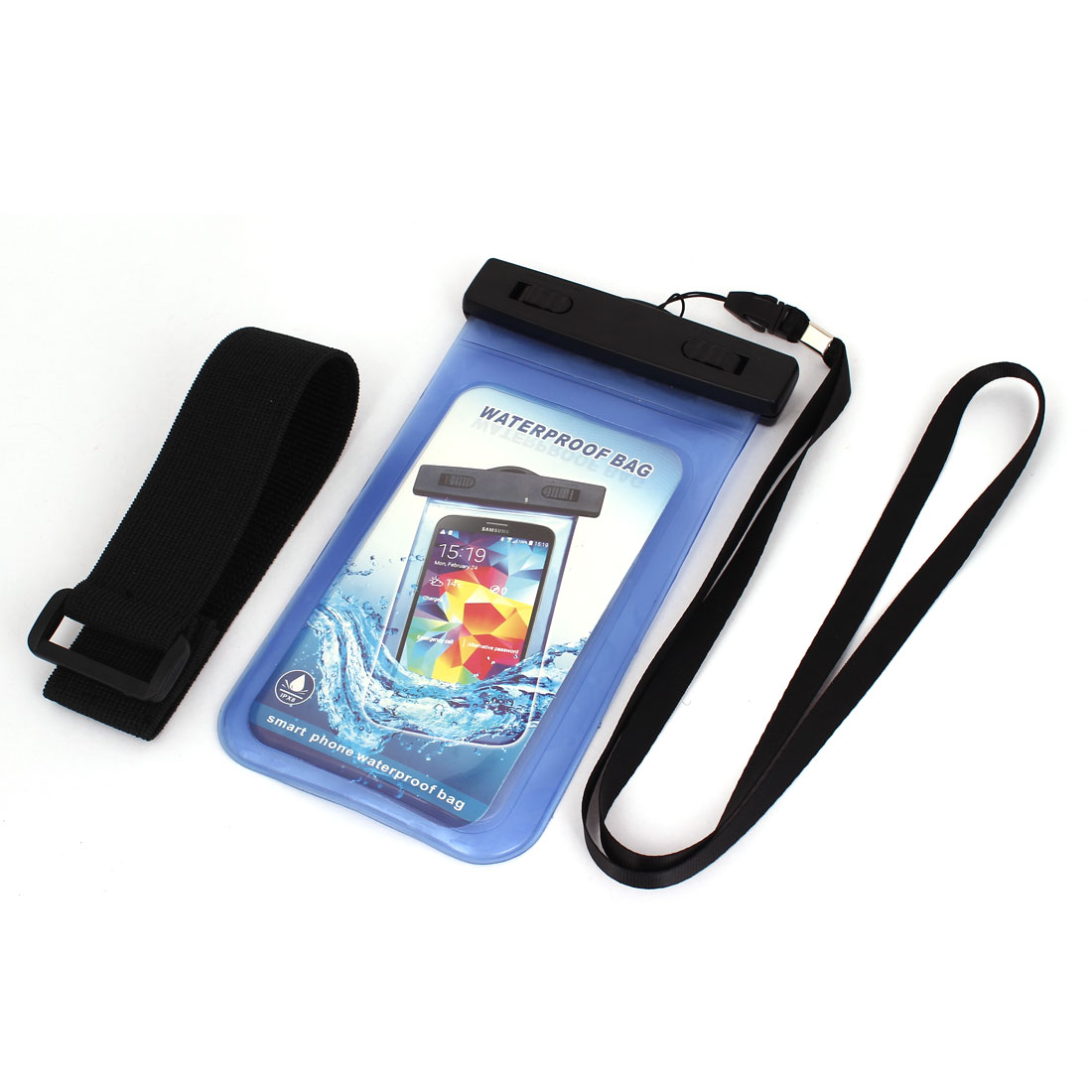 Cell Phone iPhone Waterproof Case Cover Bag Dry Pouch Light Blue w Armband
