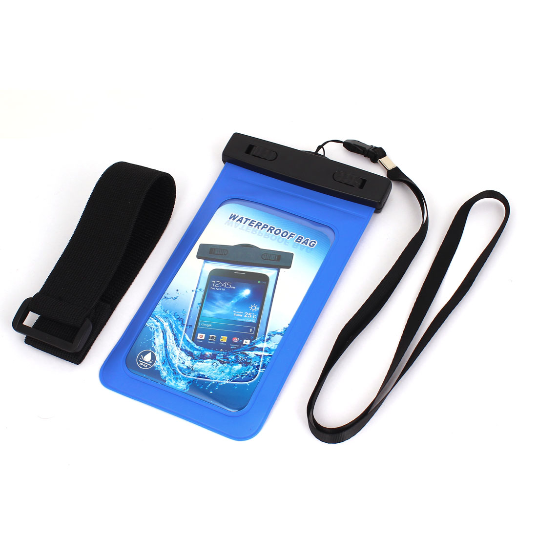 "Waterproof Case Cover Bag Dry Pouch Blue w Armband for 5.5"" Mobile Phone"