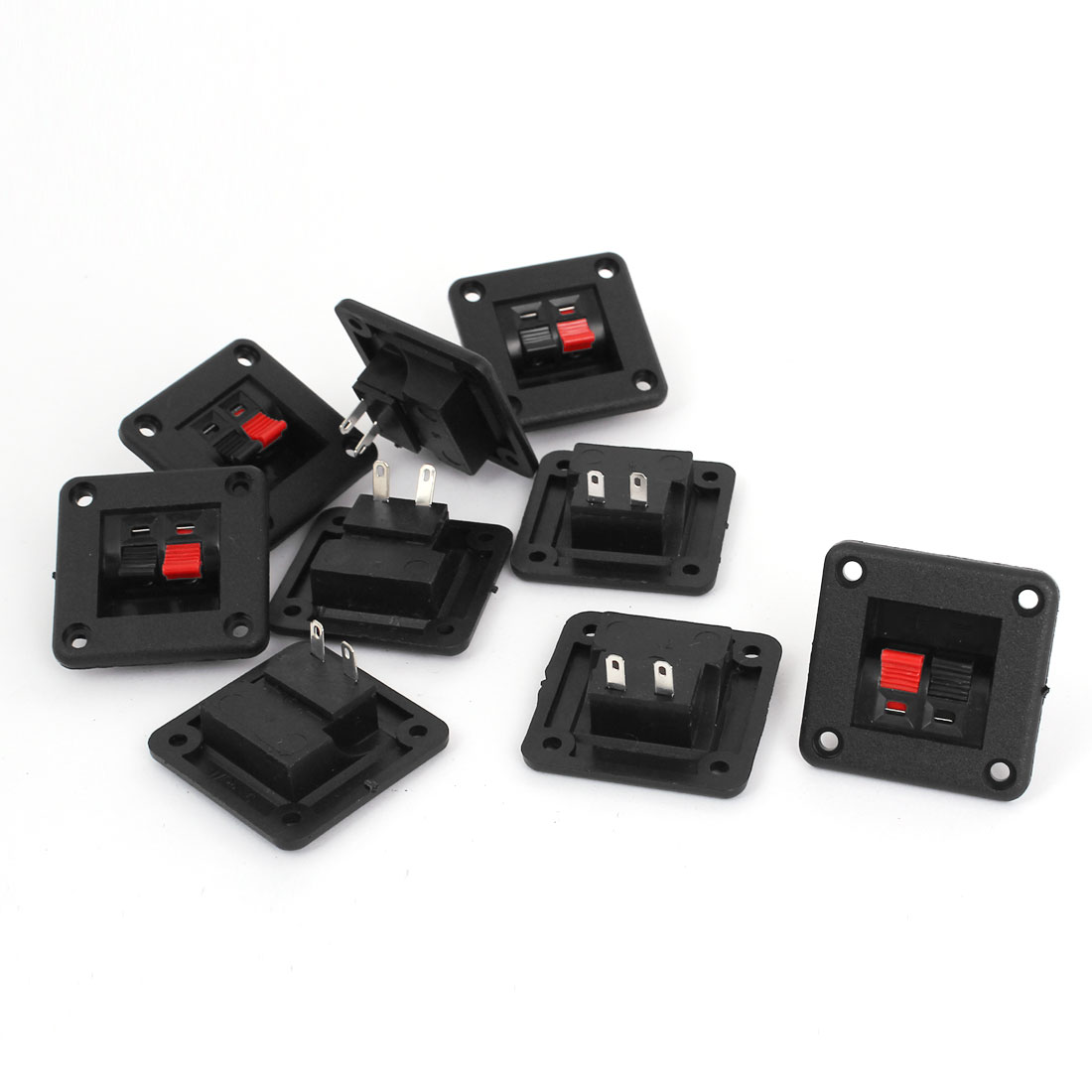 9pcs 2 Way Speaker Box Connector Terminal Binding Post Spring Clip