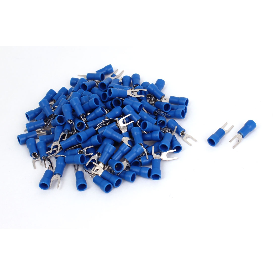 220 Pcs Blue 4# AWG 22-16 SV1.25-3 19A Wire Connector Insulated Fork Terminals