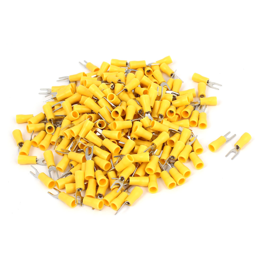 220 Pcs AWG22-16 SV1.25-3 Wire Connector Insulated Fork Terminals Yellow