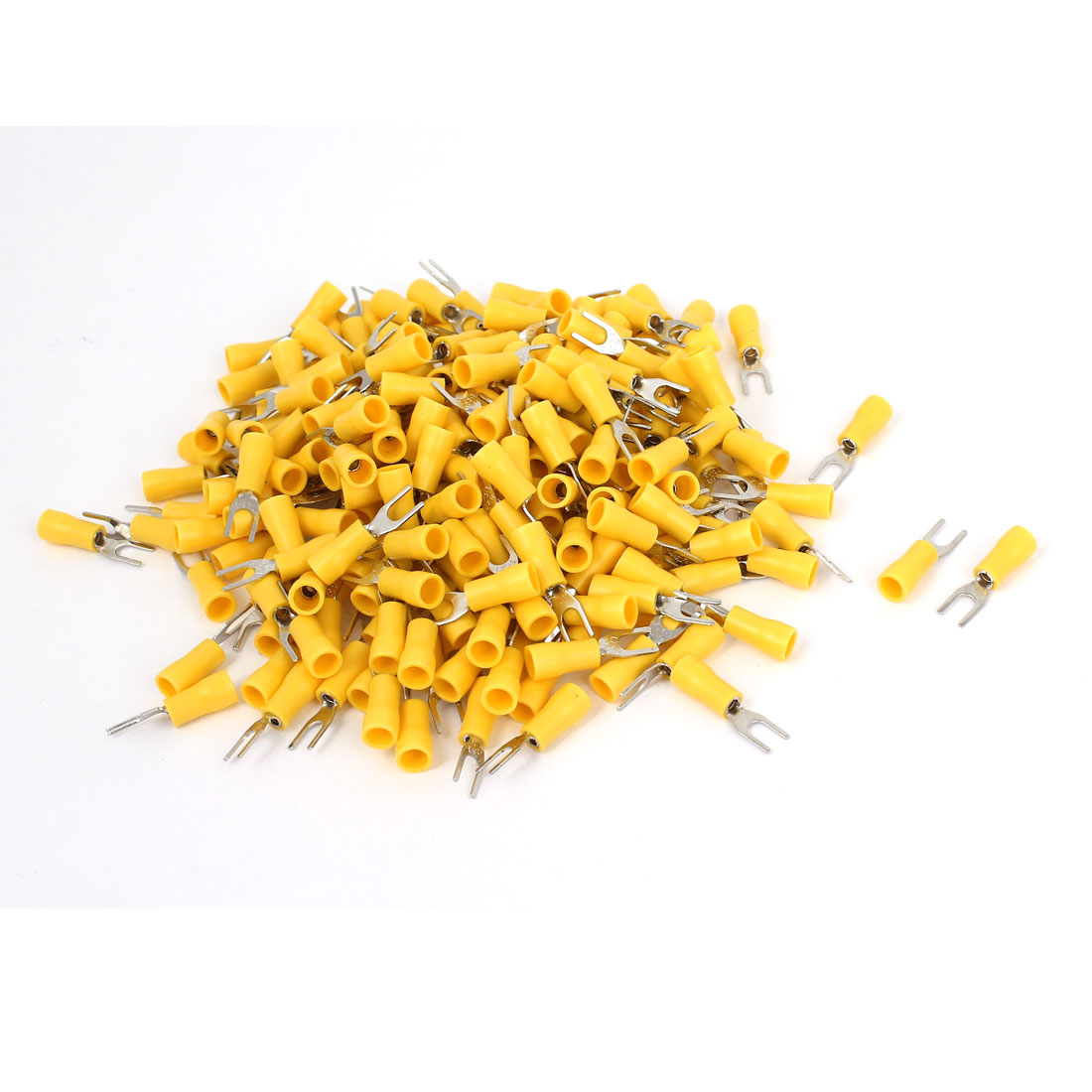 340 Pcs Yellow 4# AWG 22-16 SV1.25-3 19A Wire Connector Insulated Fork Terminals