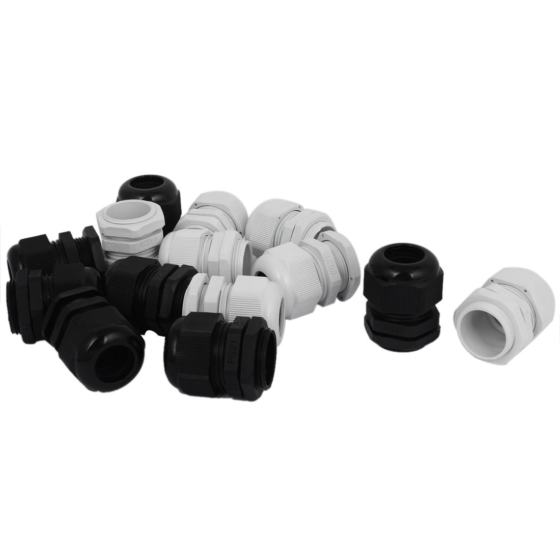 14Pcs PG21 16-21mm Splash Proof Cable Glands Black White
