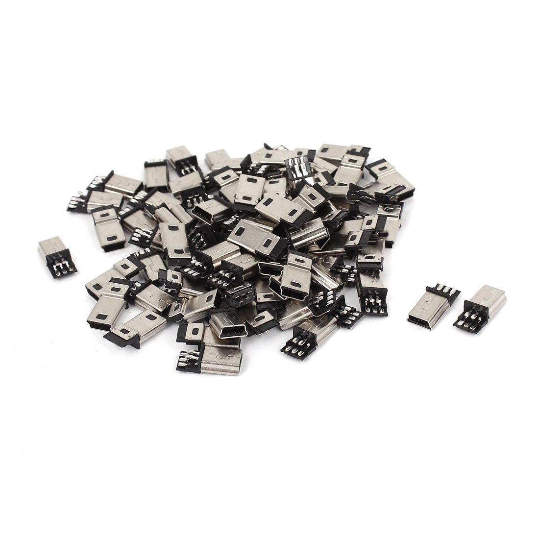 80 Pcs Mini USB 5Pin Type B Male Connector PCB Mounting Socket Adapter
