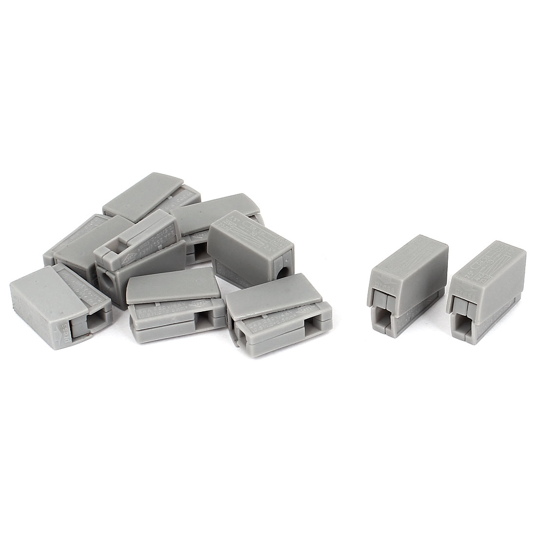 AC250V 24A 0.5-2.5mm2 1.0-2.5mm2 1 Way Terminal Block Push Wire Connector 10Pcs