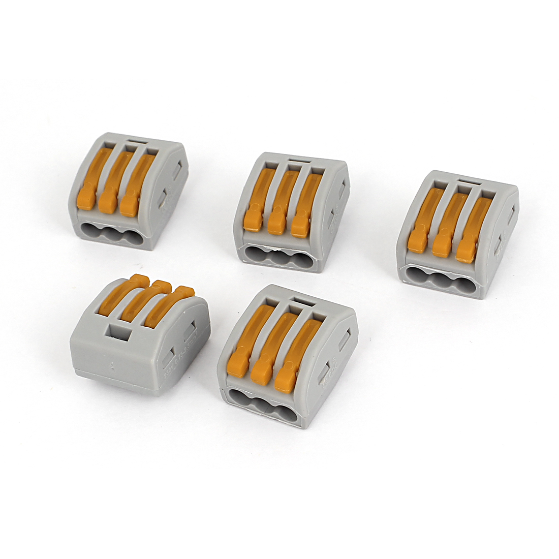 AC400V 32A 0.08-2.5mm2 0.08-4.0mm2 3 Way Terminal Block Push Wire Connector 5Pcs