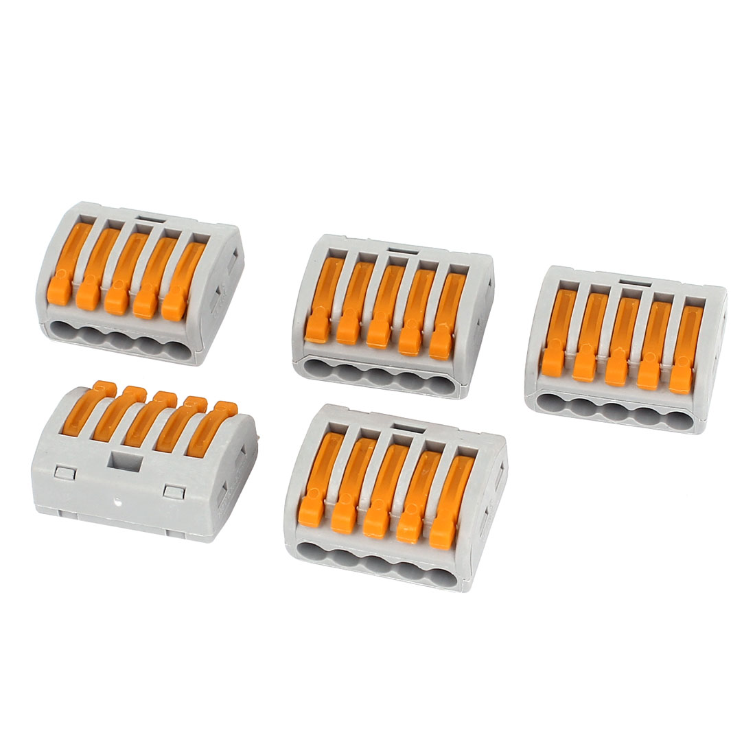 AC400V 32A 0.08-2.5mm2 0.08-4.0mm2 5 Way Terminal Block Push Wire Connector 5Pcs
