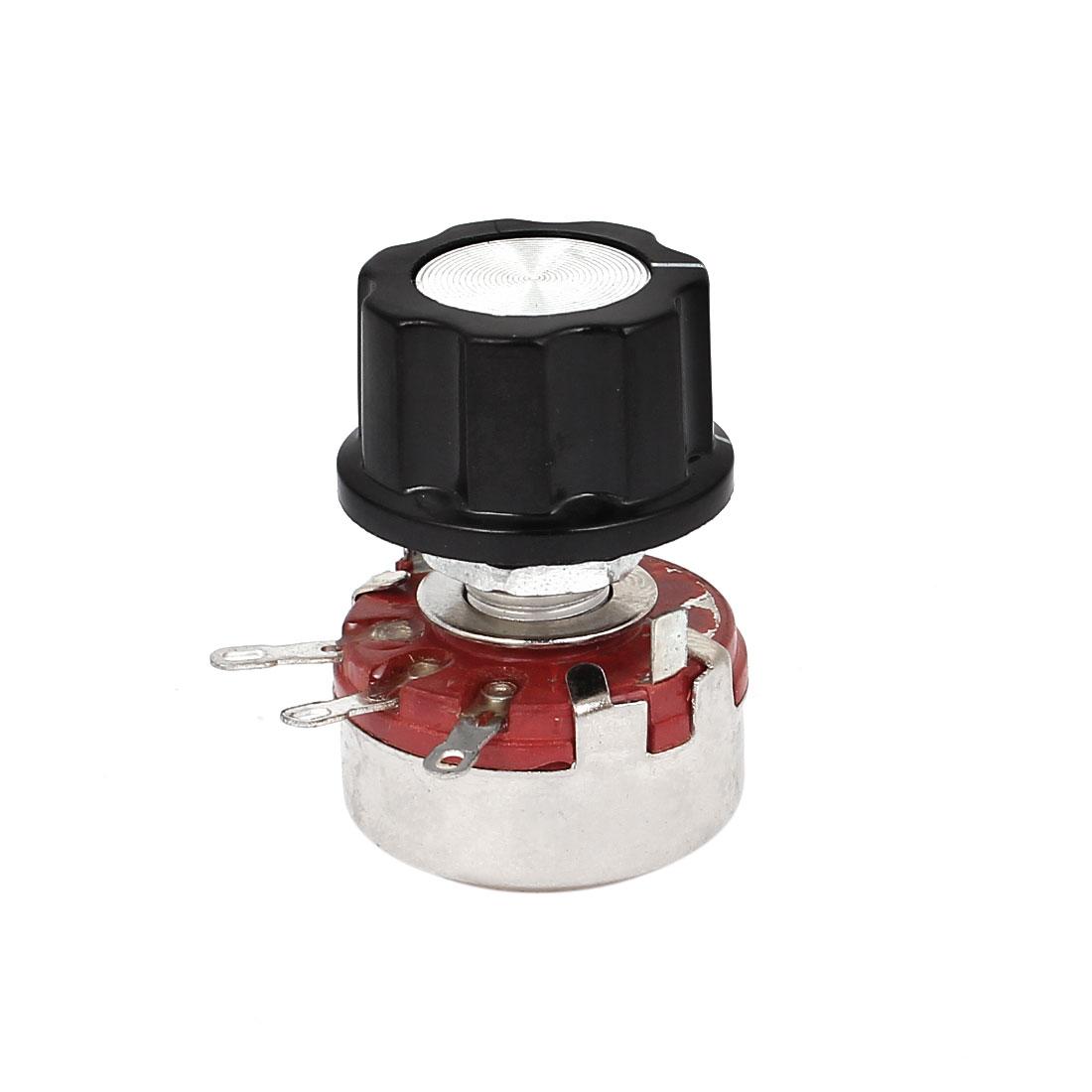 WTH118-1A 2W 10K Ohm Rotary Taper Carbon Film Potentiometer Pots w Control Knob