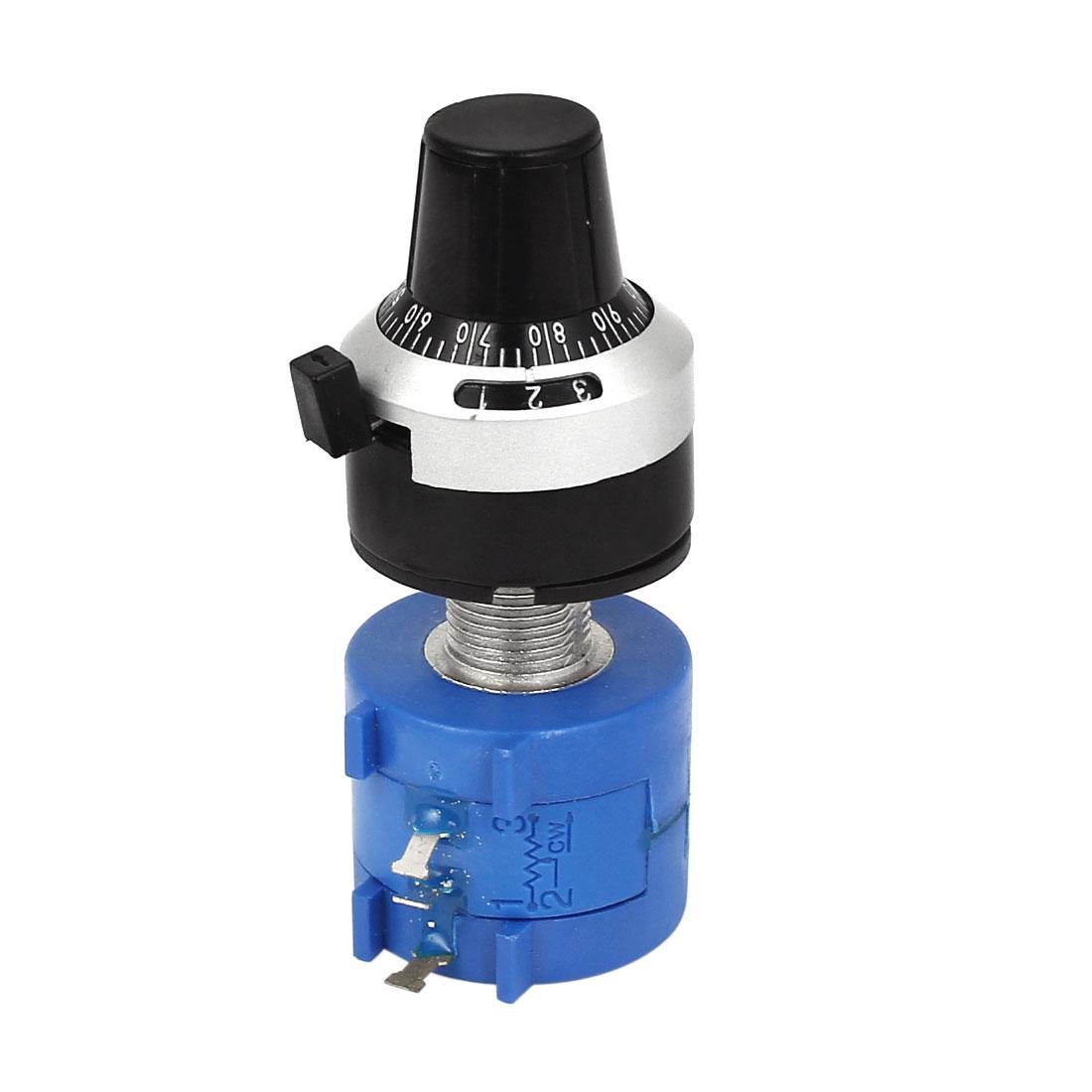 3590S-2-103L 10K Ohm 6mm Shaft 10 Turns Wire Wound Potentiometer w Dial Knob