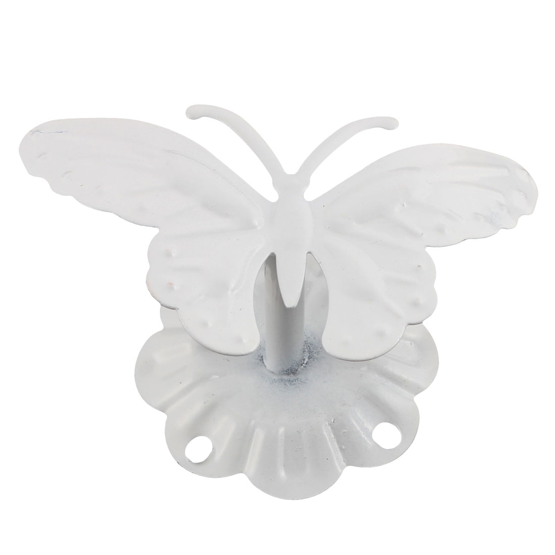White Metal Wall Mount Butterfly Top Design Clothes Scarf Hanging Hook Hanger