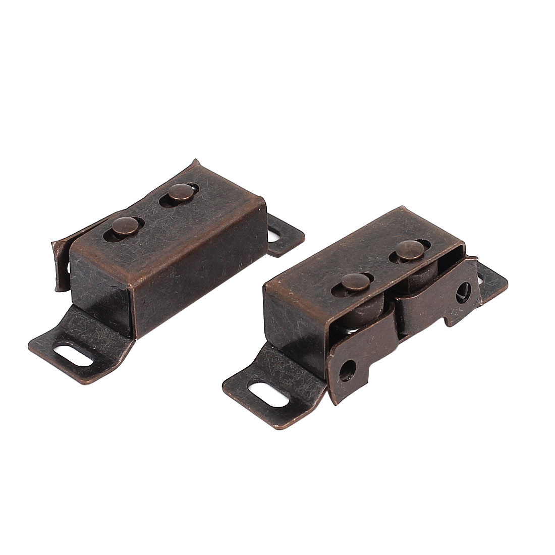 Cabinet Cupboard Closet Double Ball Roller Door Latch Catch Copper Tone 2pcs