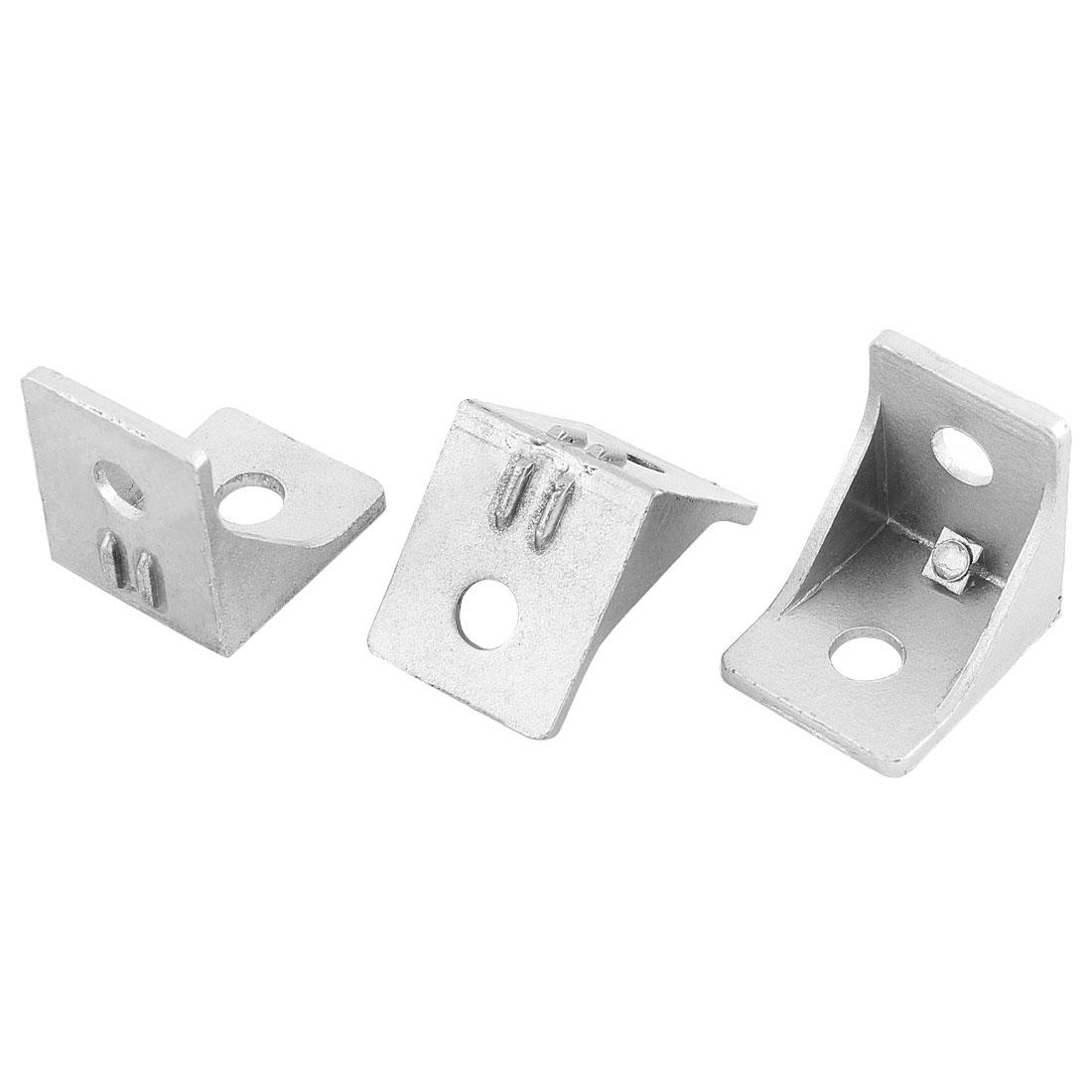 Silver Tone 30mmx30mm 2 Holes Right Angled Shelf Corner Brace Angle Bracket 3pcs