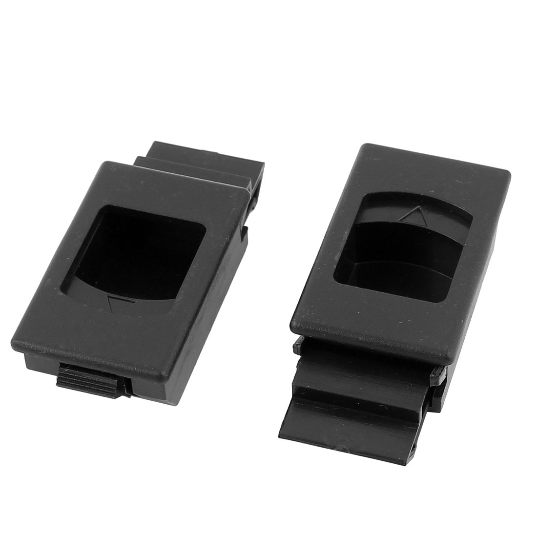 Black Plastic Window Door Cabinet Inside Sliding Pull Latch Fittings 2pcs