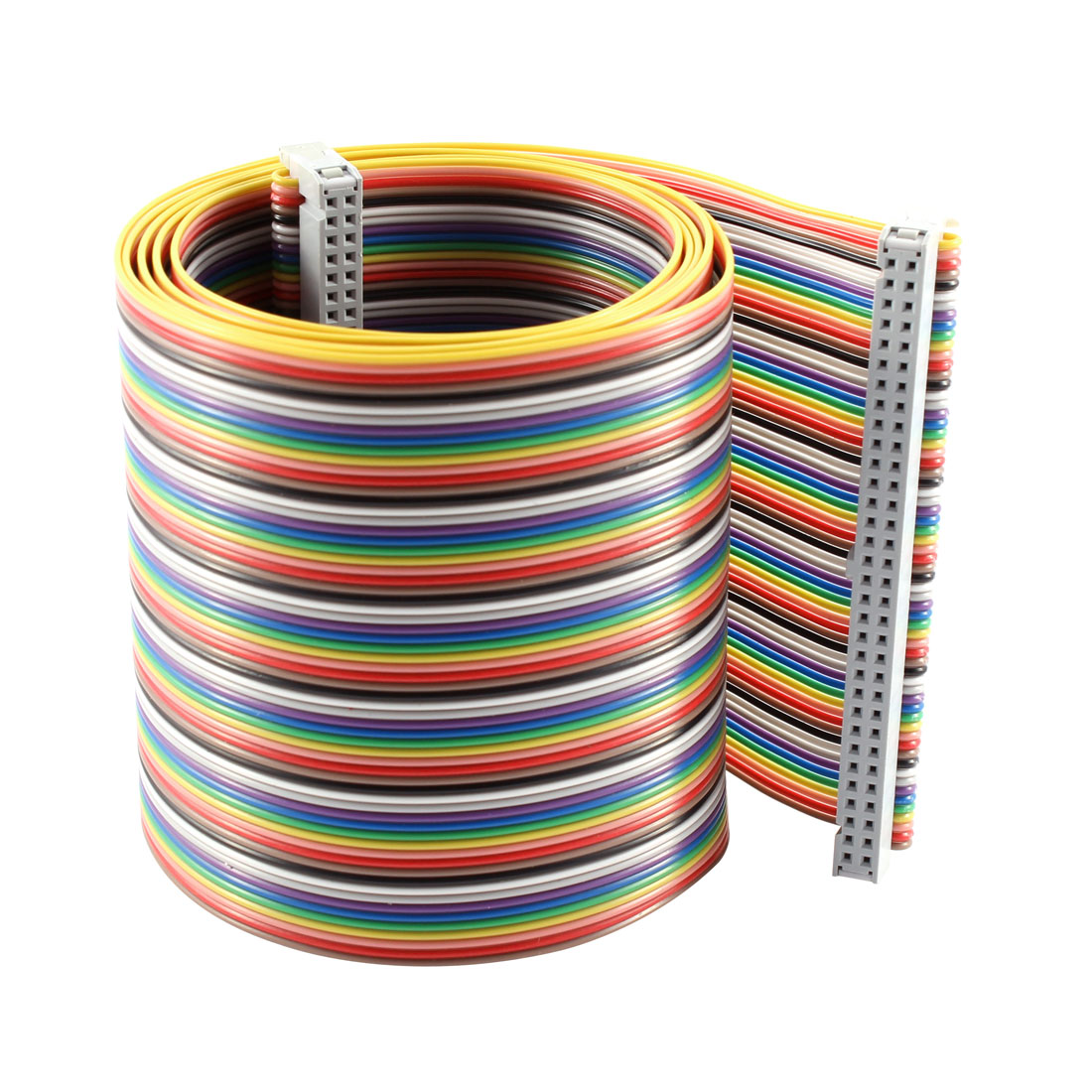 2.54mm Pitch 64 Pin 64 Way F/F Connector IDC Flat Rainbow Ribbon Cable 118cm