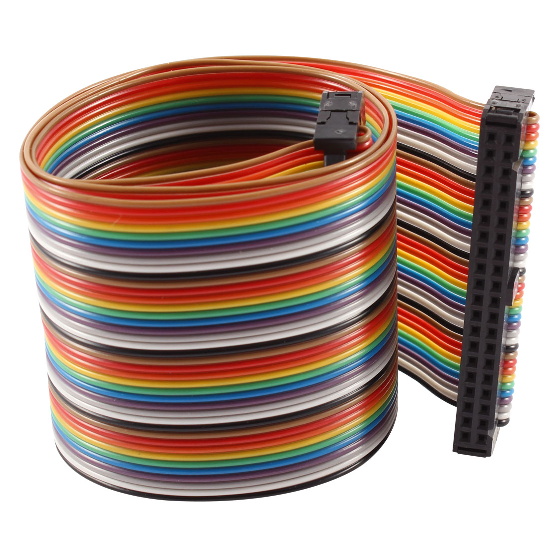2.54mm Pitch 40 Pin 40 Way F/F Connector IDC Flat Rainbow Ribbon Cable 48cm