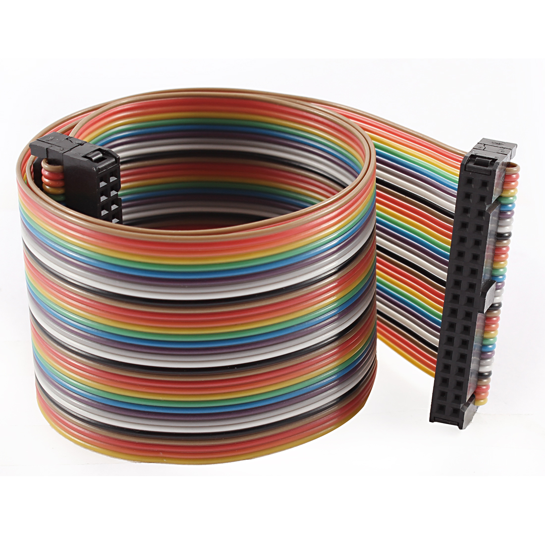 2.54mm Pitch 34 Pin 34 Way F/F Connector IDC Flat Rainbow Ribbon Cable 48cm