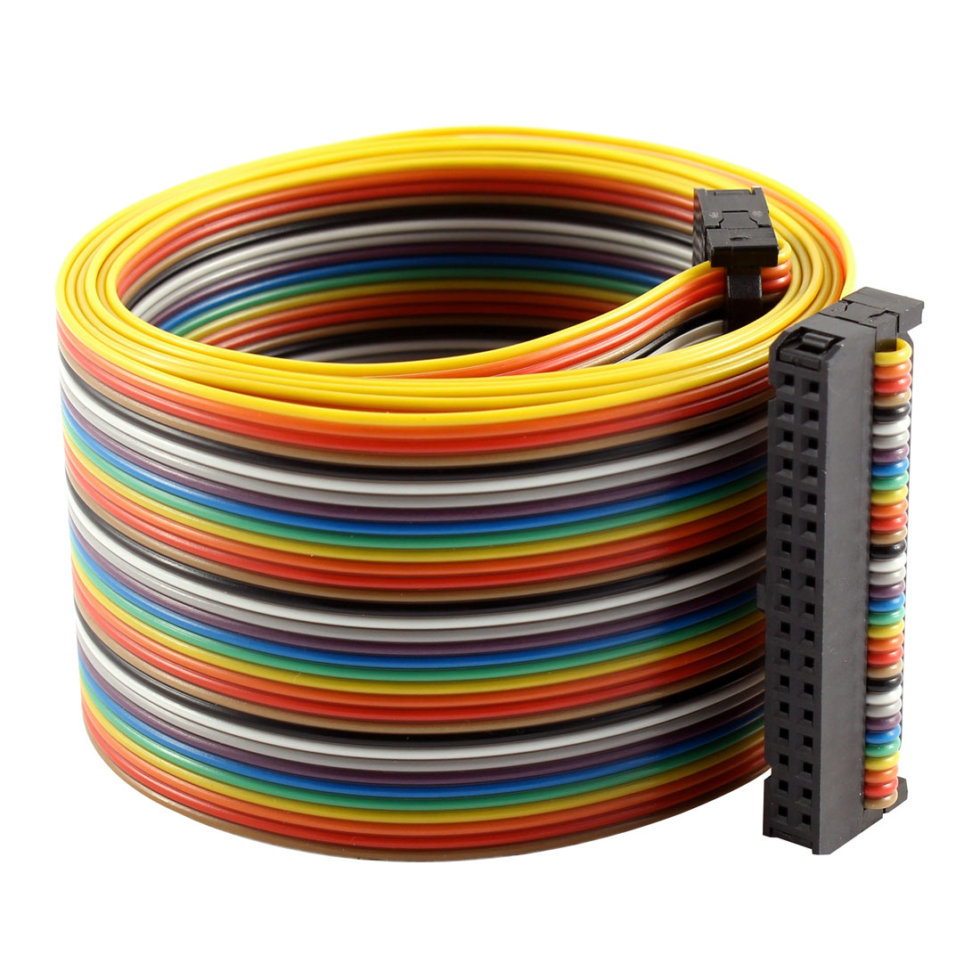 2.54mm Pitch 34 Pin 34 Way F/F Connector IDC Flat Rainbow Ribbon Cable 118cm