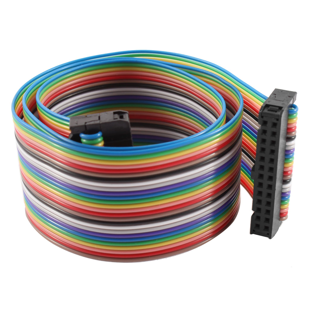2.54mm Pitch 26 Pin 26 Way F/F Connector IDC Flat Rainbow Ribbon Cable 48cm
