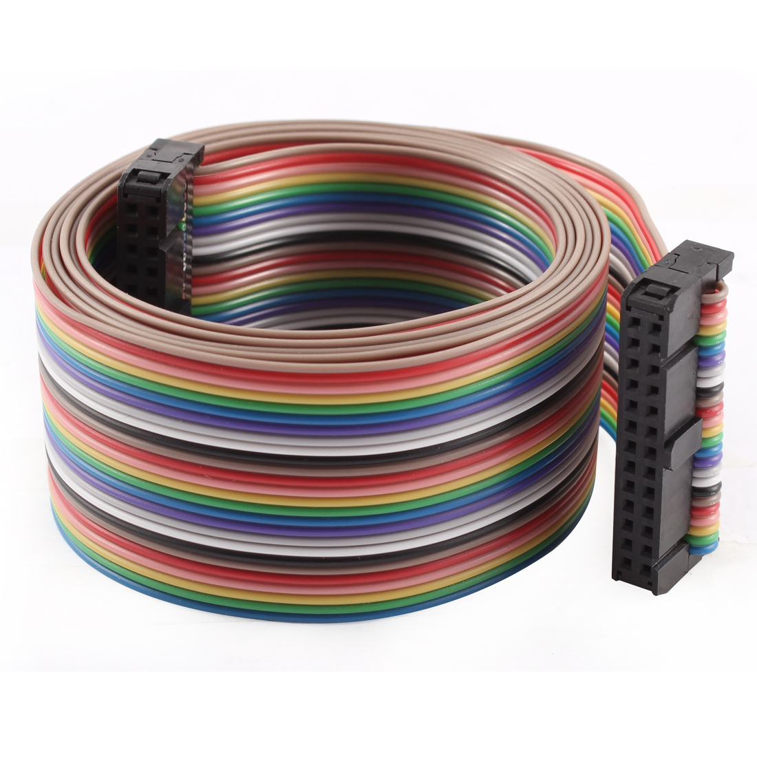2.54mm Pitch 26 Pin 26 Way F/F Connector IDC Flat Rainbow Ribbon Cable 118cm