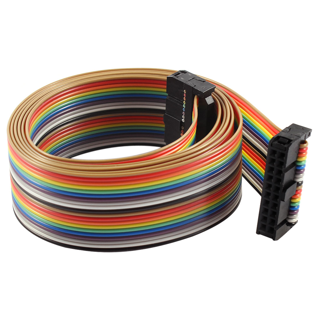 2.54mm Pitch 20 Pin 20 Way F/F Connector IDC Flat Rainbow Ribbon Cable 118cm