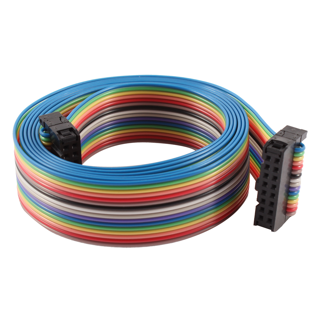 2.54mm Pitch 16 Pin 16 Way F/F Connector IDC Flat Rainbow Ribbon Cable 118cm
