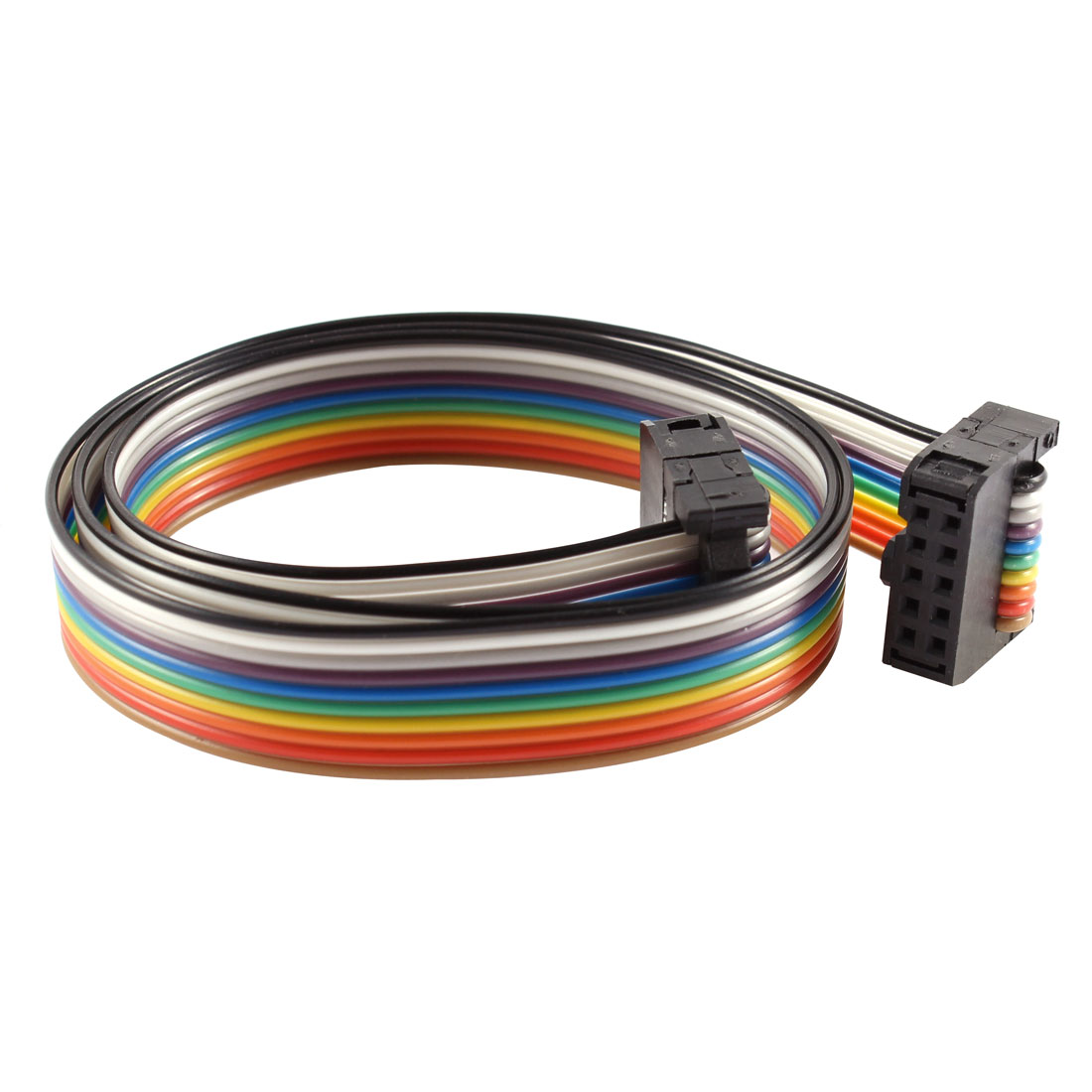 2.54mm Pitch 10 Pin 10 Way F/F Connector IDC Flat Rainbow Ribbon Cable 48cm