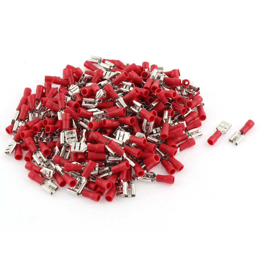 165pcs FDD1-250 Red Female Spade Connector Insulated Crimp Terminals 22-16AWG