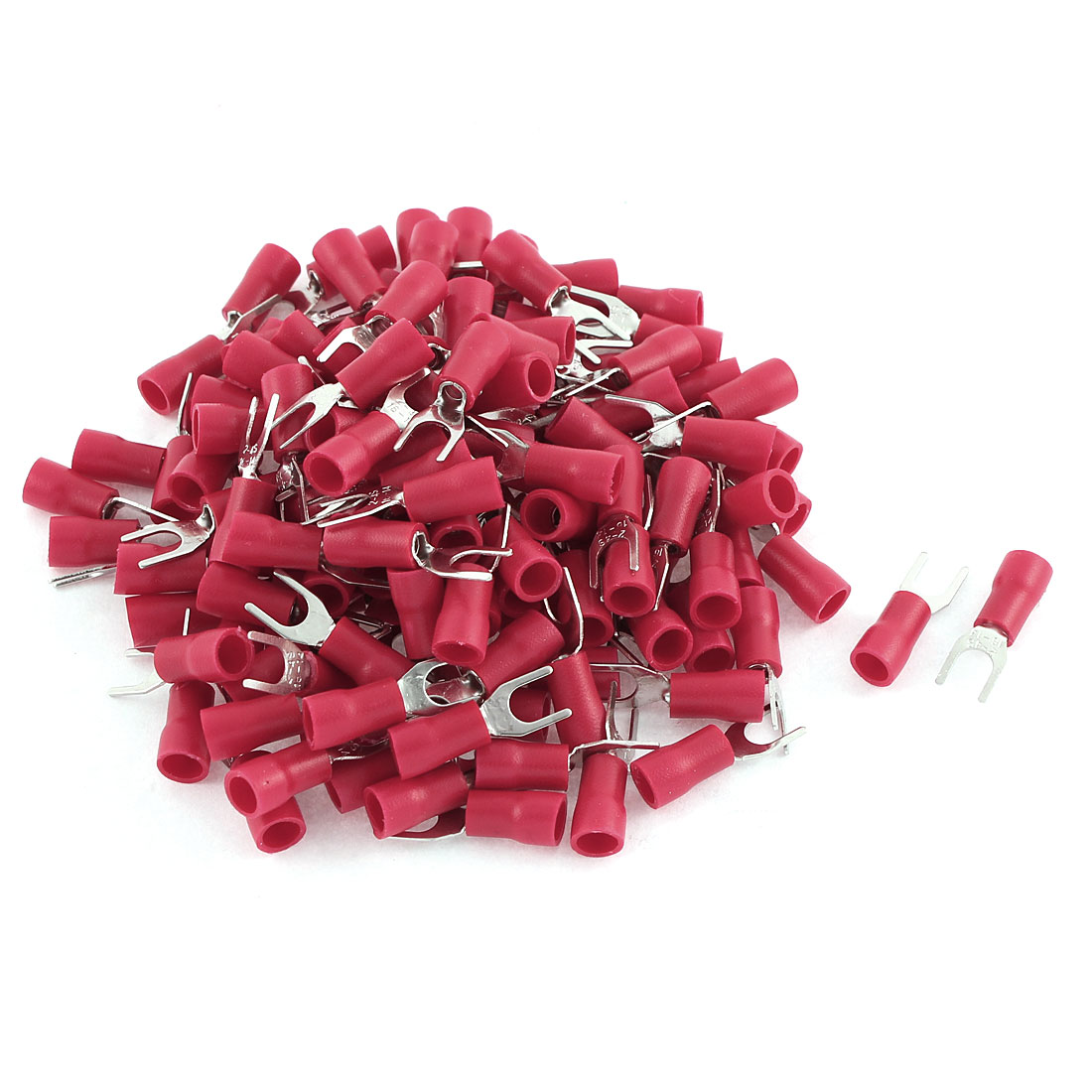 135Pcs SV2-4 Fork Type Red Insulated Spade Cable Terminals 16-14AWG